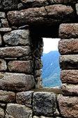 Machu picchu dans la fenêtre — Photo