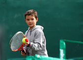Little tennis great player — Stock Photo