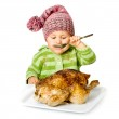 Funny child eating — Stock Photo #42748545