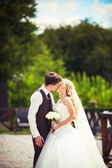 Wedding couple hugging — Stock Photo