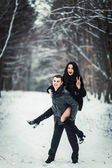 Loving couple having fun in a snowy forest — Foto de Stock