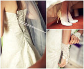 Collage of wedding preparation — Foto Stock