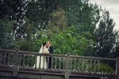 Lyckliga bruden och brudgummen på ett bröllop en promenad på bron — Stockfoto