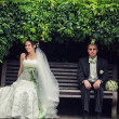 Wedding. bride and groom sitting on a bench under a bush. nature — Stock Photo