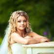 Wedding. portrait of a beautiful bride in her boudoir near the piano — Stock Photo #43904971