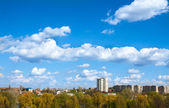 Blue sky with field of green grass and city on the horizon — Stock Photo
