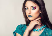Beauty portrait of young woman with long hair. Bright, summer, professional makeup. — Stok fotoğraf