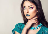 Beauty portrait of young woman with long hair. Bright, summer, professional makeup. — Foto de Stock