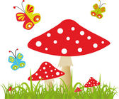 Colorful background with butterfly and amanita — Stock Vector