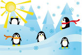 Colorful background with funny penguins — Vettoriale Stock