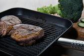 Beef steak in pan — Stock Photo