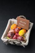 Easter Eggs on basket — Stock Photo