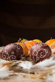Easter Eggs on feathers — Stock Photo