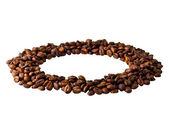 コーヒー豆から円 — ストック写真