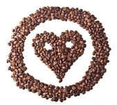 Sight 'Heart' with eyes in circle from Coffee beans — Stock Photo
