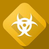 Vector icon of Bio Hazard Sign with a long shadow — Stock Vector