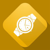 Vector icon of Watch with a long shadow — Wektor stockowy