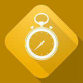 Vector icon of stop watch with a long shadow — Stock Vector