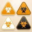 Set of triangular signs of danger of white, black and orange color. Biohazard sign — Stock Vector #48069583
