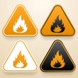 Set of triangular signs of danger of white, black and orange color. Fire warning sign — Stock Vector #48069635