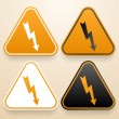 Set of triangular signs of danger of white, black and orange color. Voltage warning sign — Stock Vector #48069655