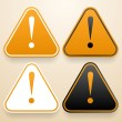 Set of triangular signs of danger of white, black and orange color. Warning sign — Stock Vector #48069661