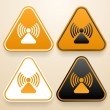 Set of triangular signs of danger of white, black and orange color. Raying warning sign — Stock Vector #48069665