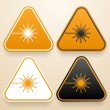 Set of triangular signs of danger of white, black and orange color. Laser warning sign — Stock Vector #48069669