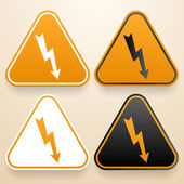Set of triangular signs of danger of white, black and orange color. Voltage warning sign — Stock Vector