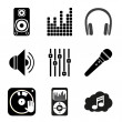 Set of icons of Music theme. Simple black style — Stock Vector #49820669