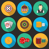 Colorful icon set on a casino theme. Gambling icons, casino icons, money icons — Stock Vector
