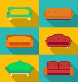 Icon set of Sofas. Modern flat style with a long shadow — Stock Vector