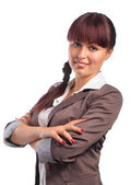 Portrait of Young Smiling  Businesswoman With Arm folded — Stock Photo