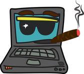 Computer star cartoon character — Stockvector