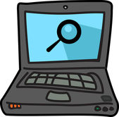 Computer laptop illustration icon with search symbol — Stock Vector