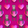 Romantic seamless pattern with hearts and dogs . background made — Stock Vector #43088811
