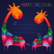 Colorful christmas greeting card with giraffes. Square compositi — Stock Vector