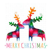 Christmas card with colorful deers — Stock Vector
