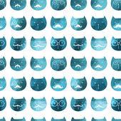 猫のシームレスなパターン。ベクトル。トライアングル猫をベクトルします。抽象的な ca — ストックベクタ
