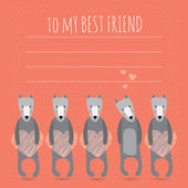 Romantic greeting card with cute dogs and hearts — Stok Vektör