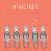 Romantická přání s roztomilý psů a srdce — Stock vektor