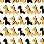 Cute funny seamless pattern with horses. Vector background with  — Stok Vektör