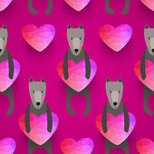 Romantic seamless pattern with hearts and dogs . background made — Stockvektor