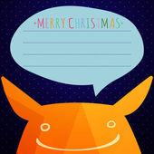 かわいいモンスターと偽物のクリスマス カード。三角形から成っている背景 — ストックベクタ