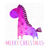 CHRISTMAS card with colorful horse — Vetorial Stock