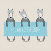 Romantic greeting card with cute dogs — Stok Vektör