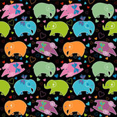 Seamless pattern with elephants — Vecteur