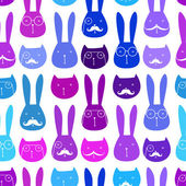 Seamless pattern with cute rabbits and cats — Stock Vector