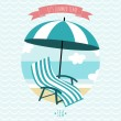 Card with beach armchair and umbrella. Summer time. I love sea. — Stock Vector