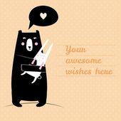 Concept card with cute bear  — Stock Vector